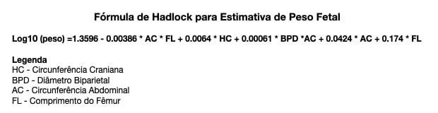 Fórmula Hadlock Peso Fetal